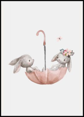 Bunnies Umbrella Poster
