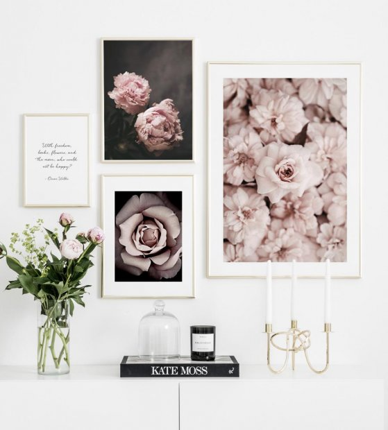 Gallery wall with flowers posters in gold frames