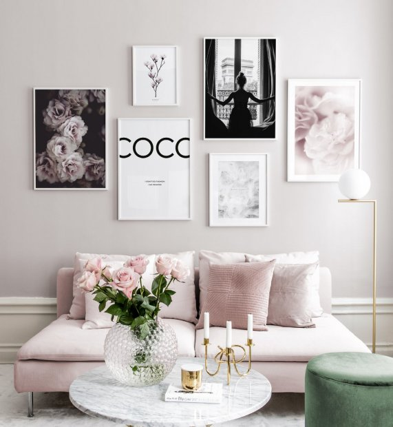 Gallery wall with pink colours