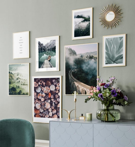Gallery wall with tones of green and blue