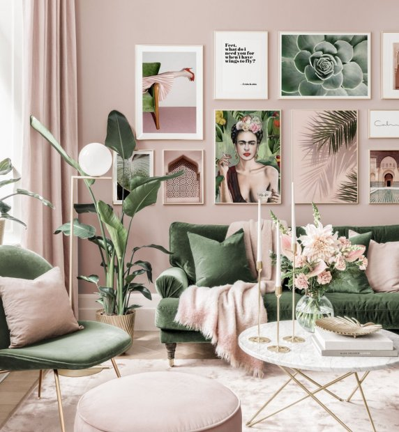 Stylish gallery wall pink green living room Frida poster golden frames