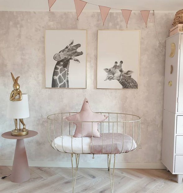 Cute photo wall black white giraffe posters golden frames nursery