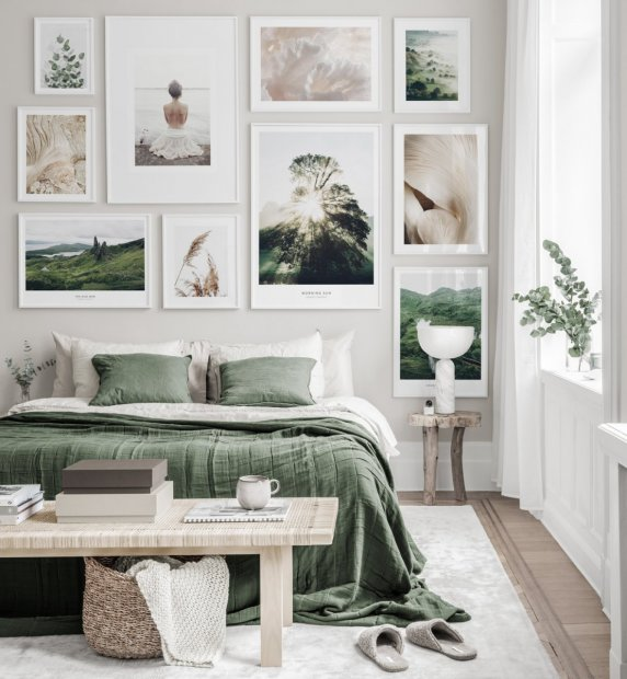Gallery wall in earthy colors with nature posters