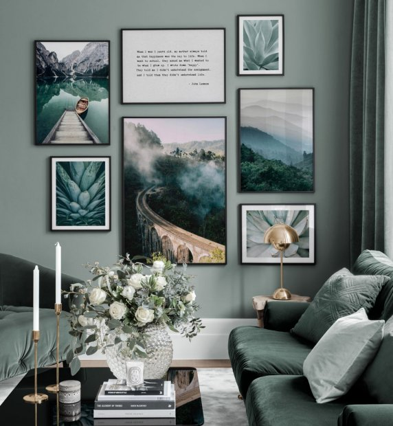 Green gallery wall with photo posters and quotes