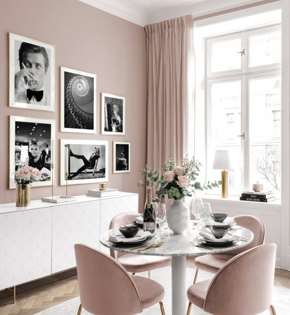 Classy gallery wall iconish black white posters golden frames