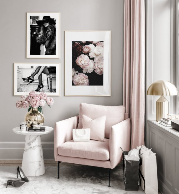 Fashion gallery wall black white posters spring peonies golden frames