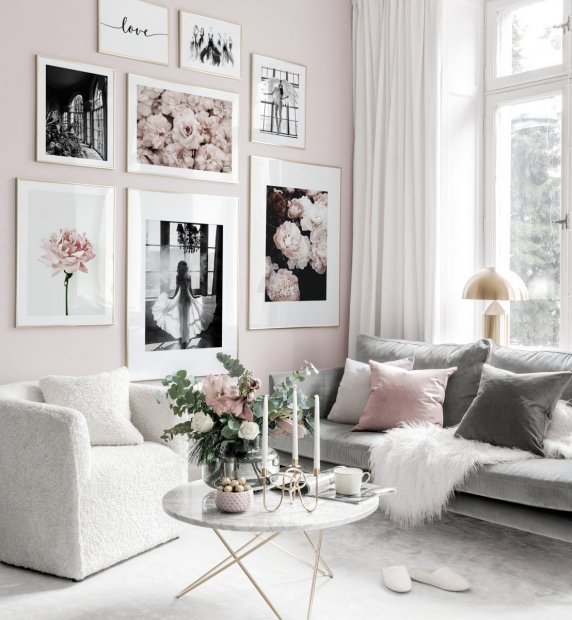 Stylish pink fashion gallery wall flower posters golden frames