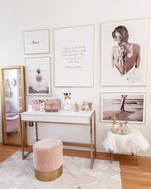 Trendy gallery wall dressing room posters love print