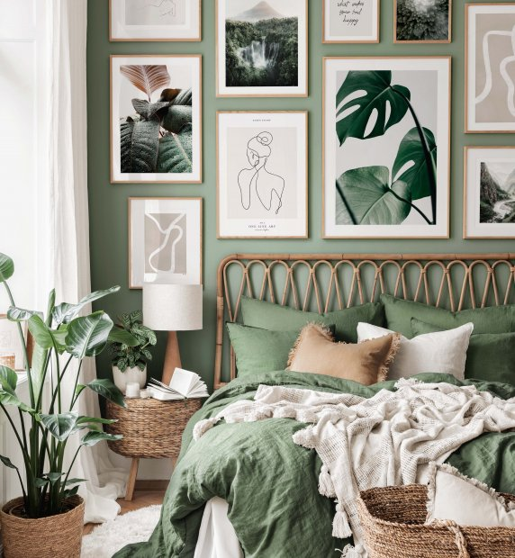 Tropical monstera gallery wall line art posters bedroom ideas