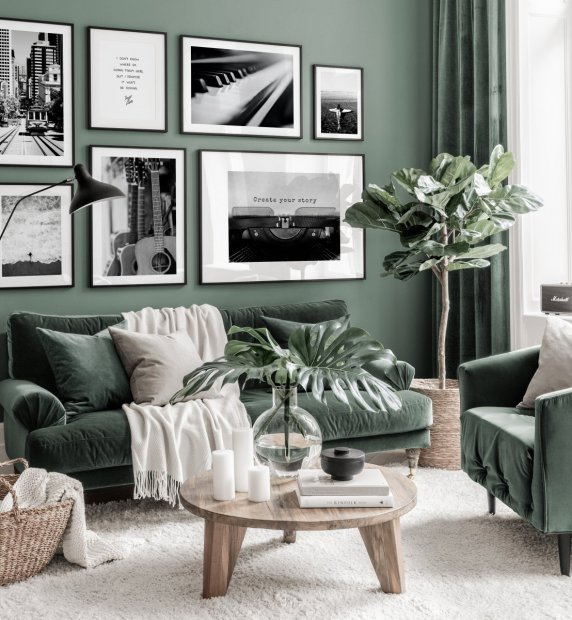 Trendy black white gallery wall music posters instruments green interior black wooden frames