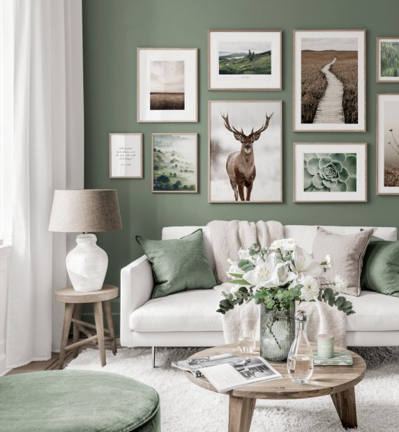 Stunning gallery wall nature posters red stag green white interior oaken frames