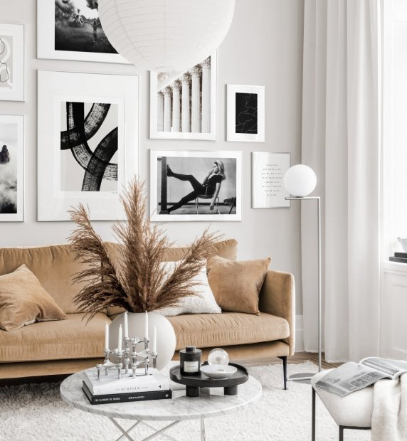 Stunning black white gallery wall abstract art posters silver frames