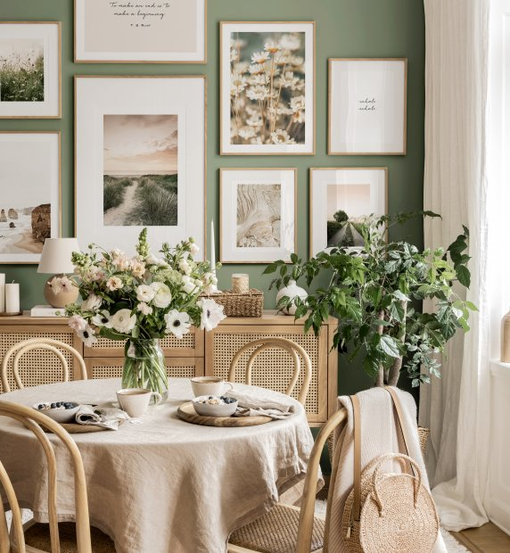 Summertime gallery wall green dining room landscape posters
