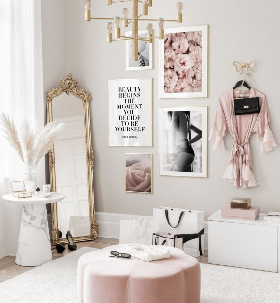 Stylish gallery wall fashion posters quote pink interior golden frames