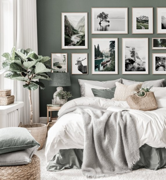 Nature inspired gallery wall green bedroom black white posters oak frames