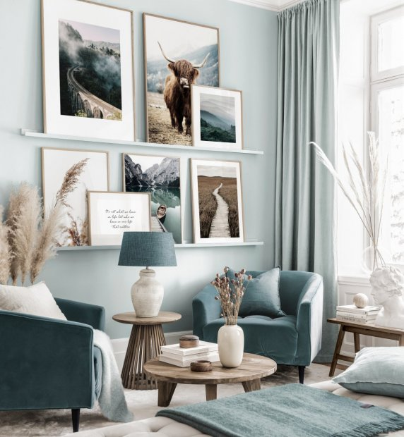 Beautiful gallery wall art landscape posters highland cow oak frames