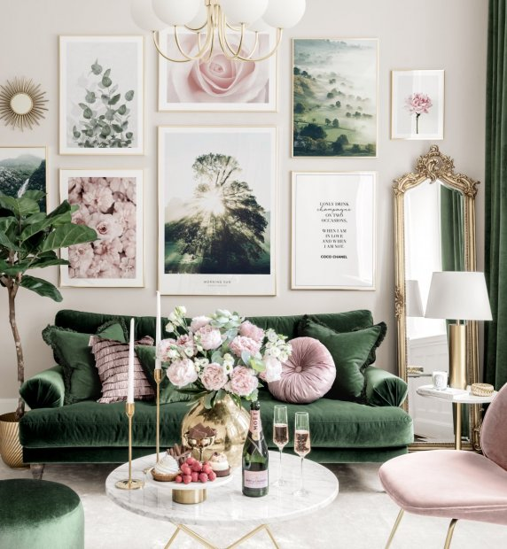 Stylish gallery wall pink green living room flower posters golden frames