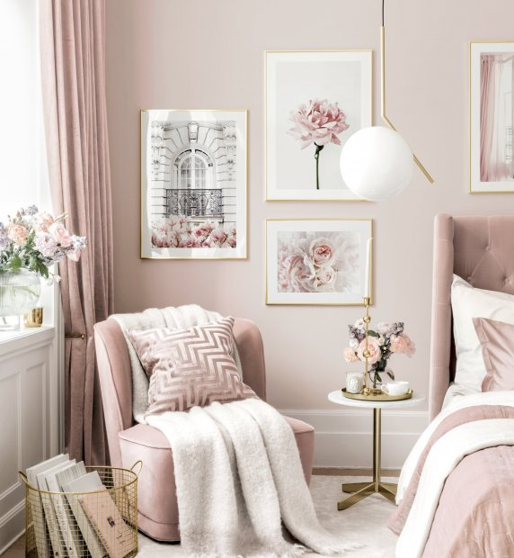 Pink reading corner gallery wall flower prints golden frames