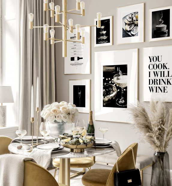 Champagne wall art kitchen posters golden frames