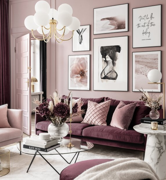 Modern pink gallery wall fashion posters black metal frames