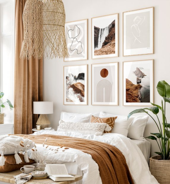 Earthy gallery wall line art posters graphic posters beige bedroom ideas
