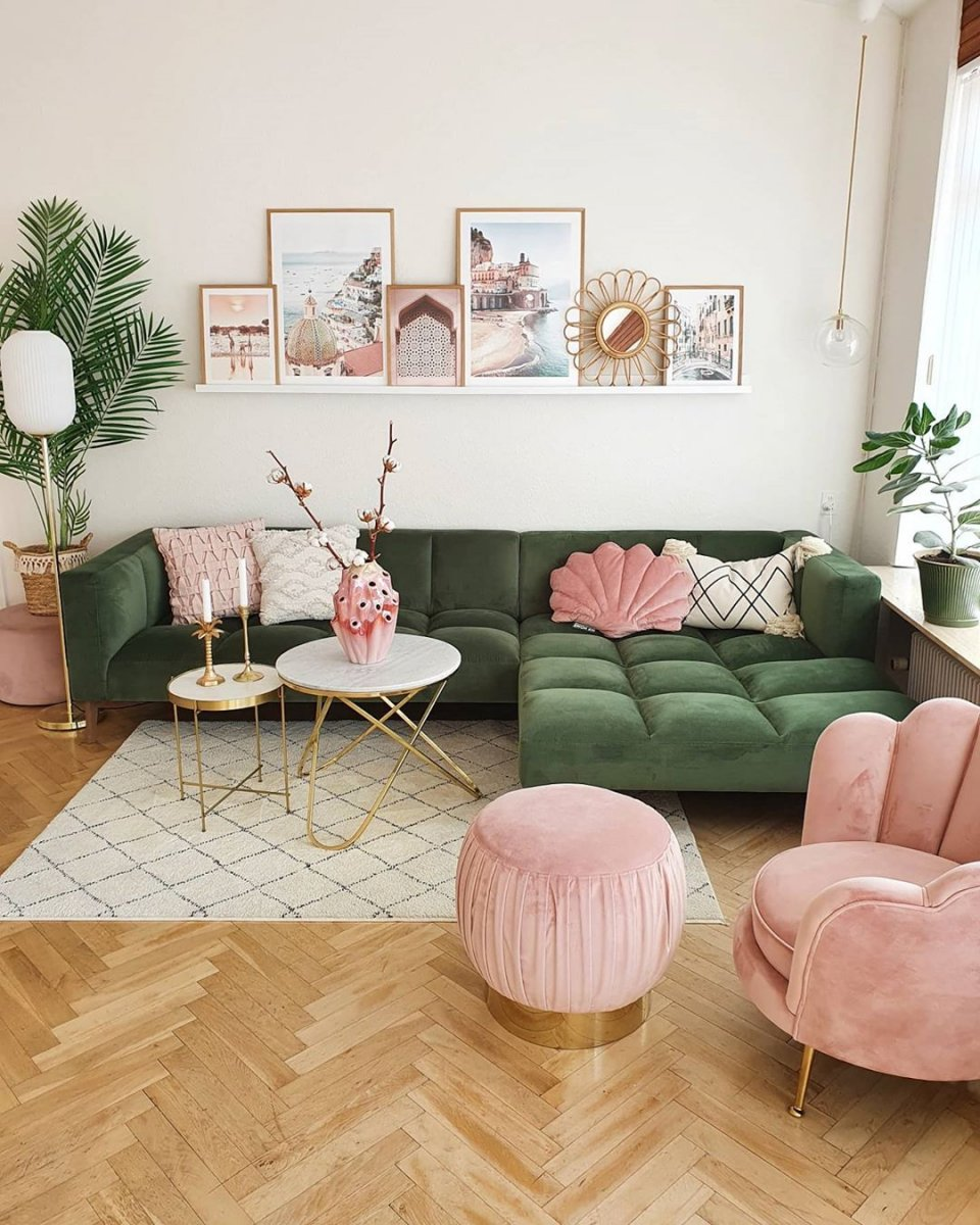 Stunning Pink Green Gallery Wall Living Room Posters Amalfi Print Photo Wall Inspiration Posterstore Eu
