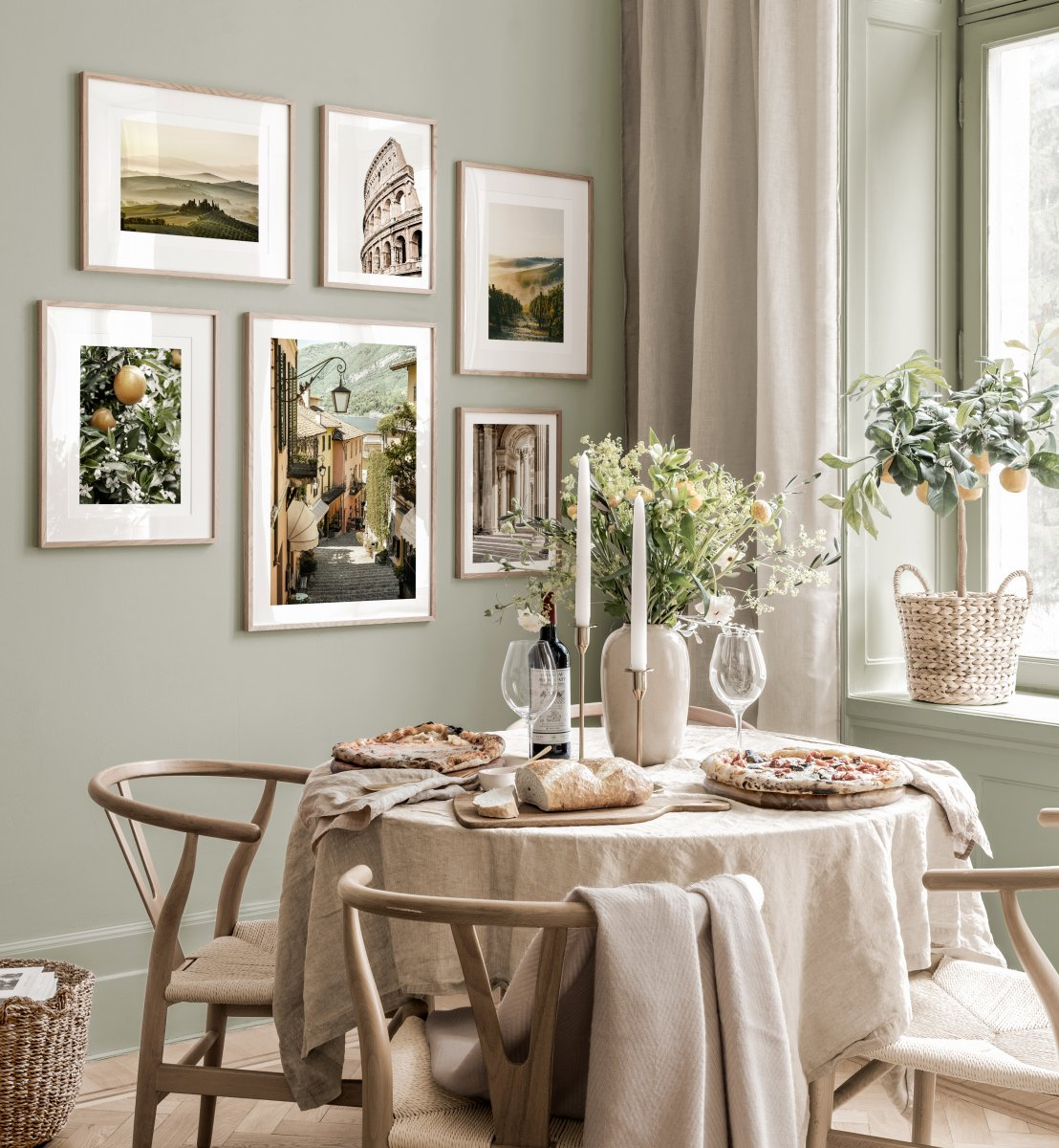 Mediterranean Gallery Wall Dining Room, Dining Room Wall Picture Frames