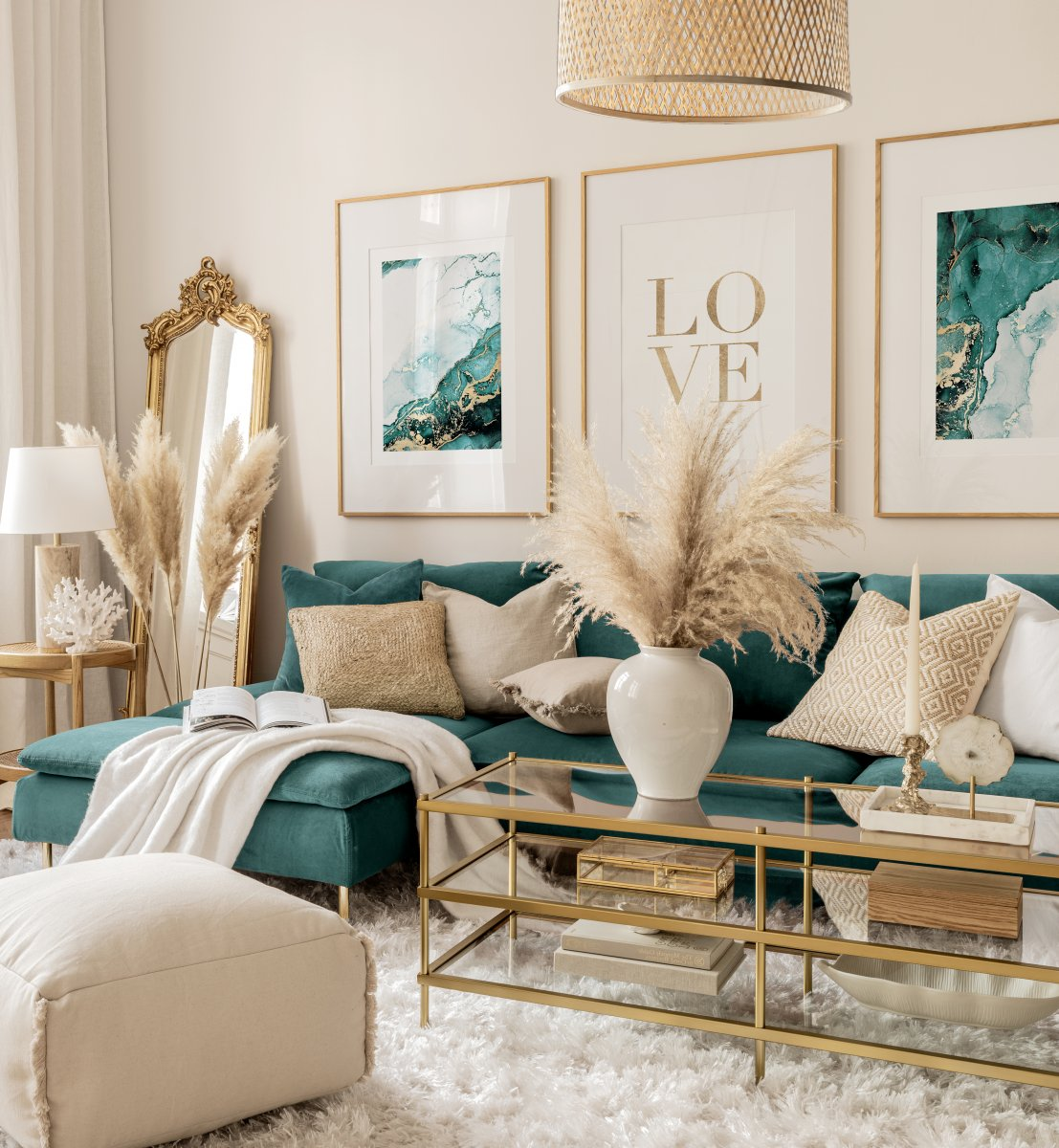 Turquoise Gold Gallery Wall Golden, Turquoise Living Room