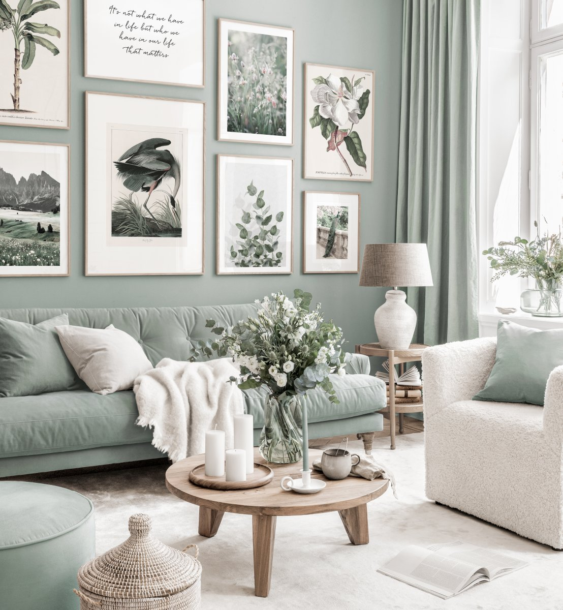 Stylish Gallery Wall Mint Green Living, Green Living Room