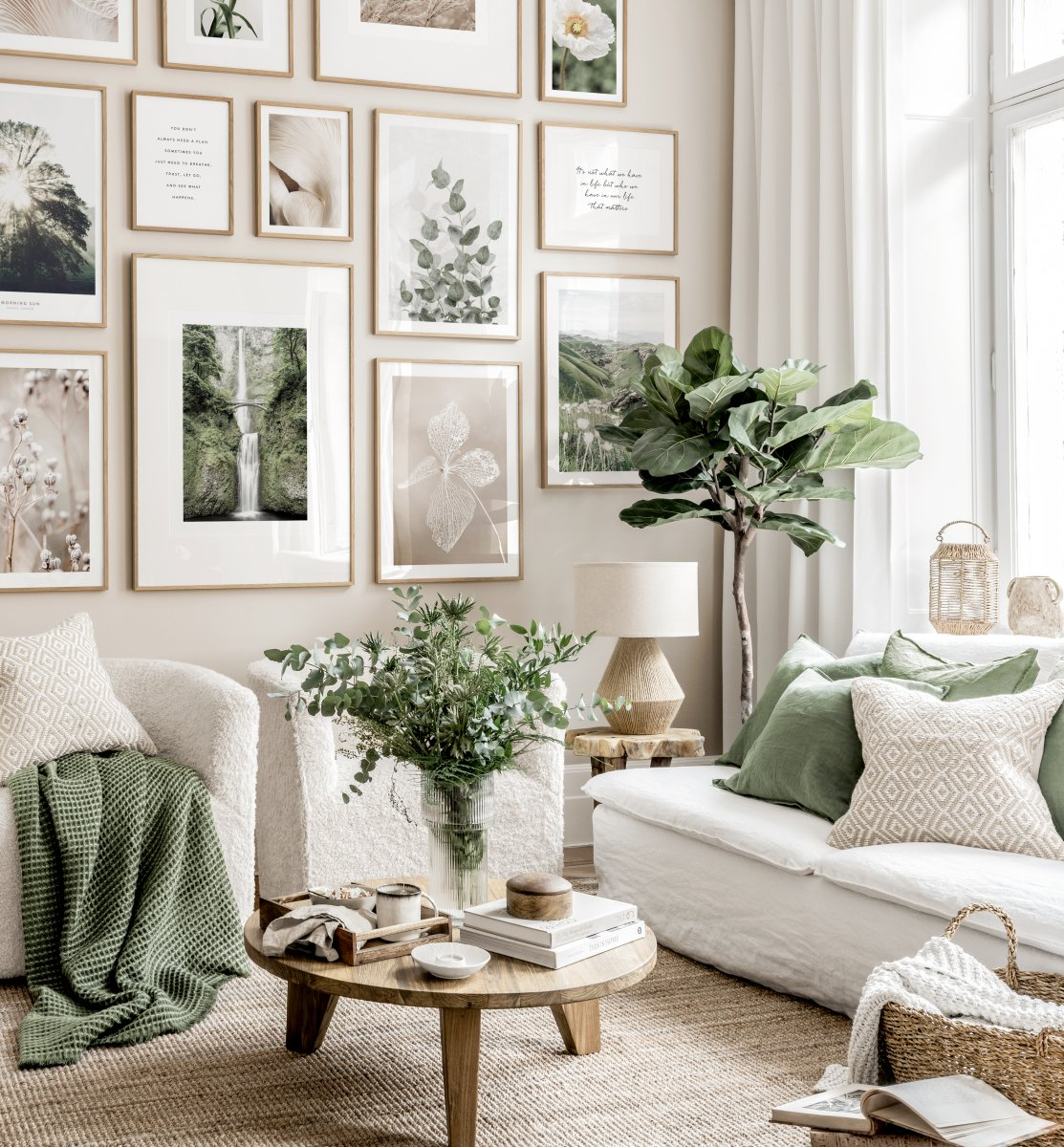 Neutral Colour Wall Art Flower Posters, Pictures For Living Room