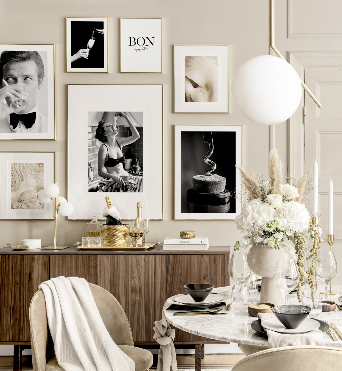 Wall Art Kitchen Prints Golden Frames, Dining Room Posters And Prints