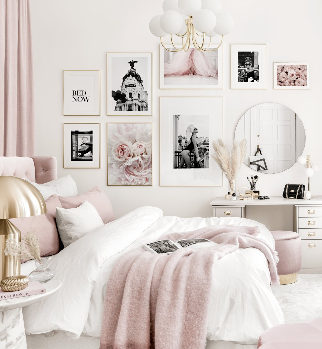 Elegant Gallery Wall Pink White Bedroom Black And White Posters Golden Frames Gallery Wall Inspiration Posterstore Eu